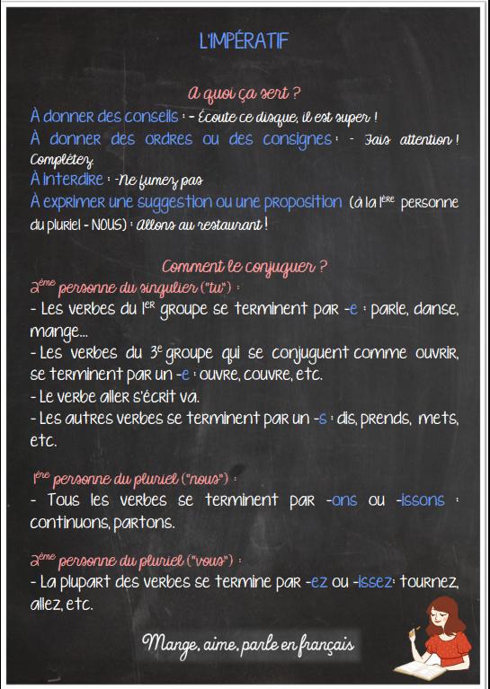 Parle En Francais L Imperatif Present Je Veux Zaz Fle Imperatif Parler Francais