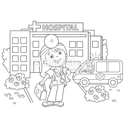 Coloring Page Outline Of Cartoon Doctor With Ambulance Car Near