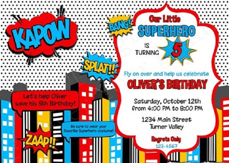 Superhero Birthday Invitations Online
