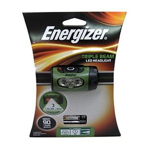 Energizer Triple Beam LED Headlight - 90 Lumens - Run Time (high, white beam): 5 hours - Run Time (low, white beam): 13 hours - 3 Color LED's - Run Time (red(night vision)): 86 hours - Run Time (green (high contrast)): 141 hours - Push button switches - Pivoting headlight - Adjustable head strap