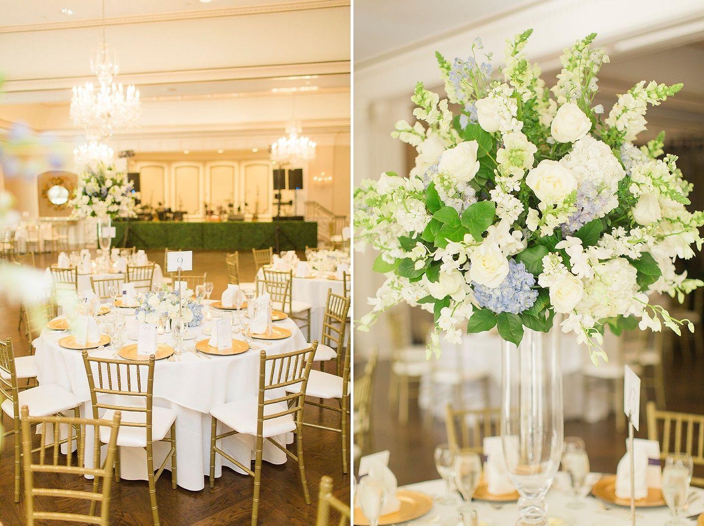 Houston Wedding Lakeside Country Club Blue And White Decor