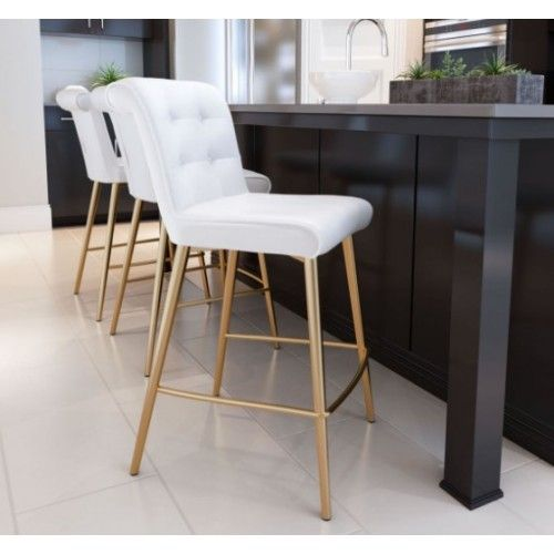 White Button Tufted Bar Stool Gold Legs Bar Chairs Kitchen White Bar Stools White Leather Bar Stools