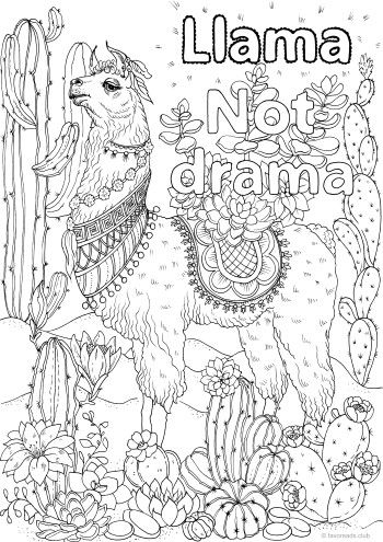 Llama Not Drama Printable Adult Coloring Pages Coloring Pages