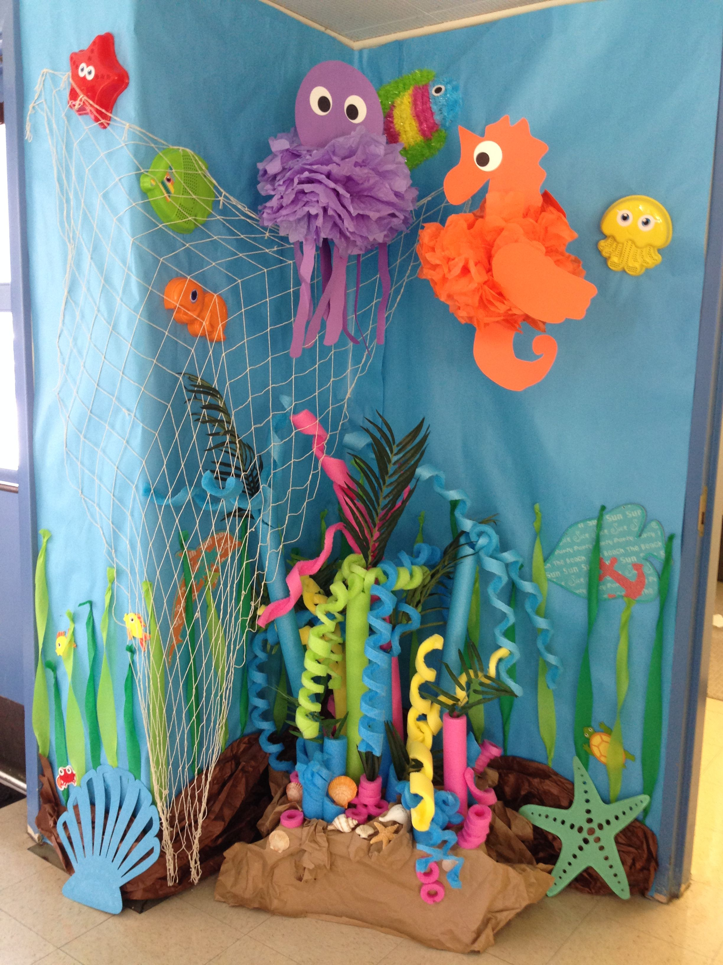 Under the sea decorations ideas, pool noodle coral reef ...