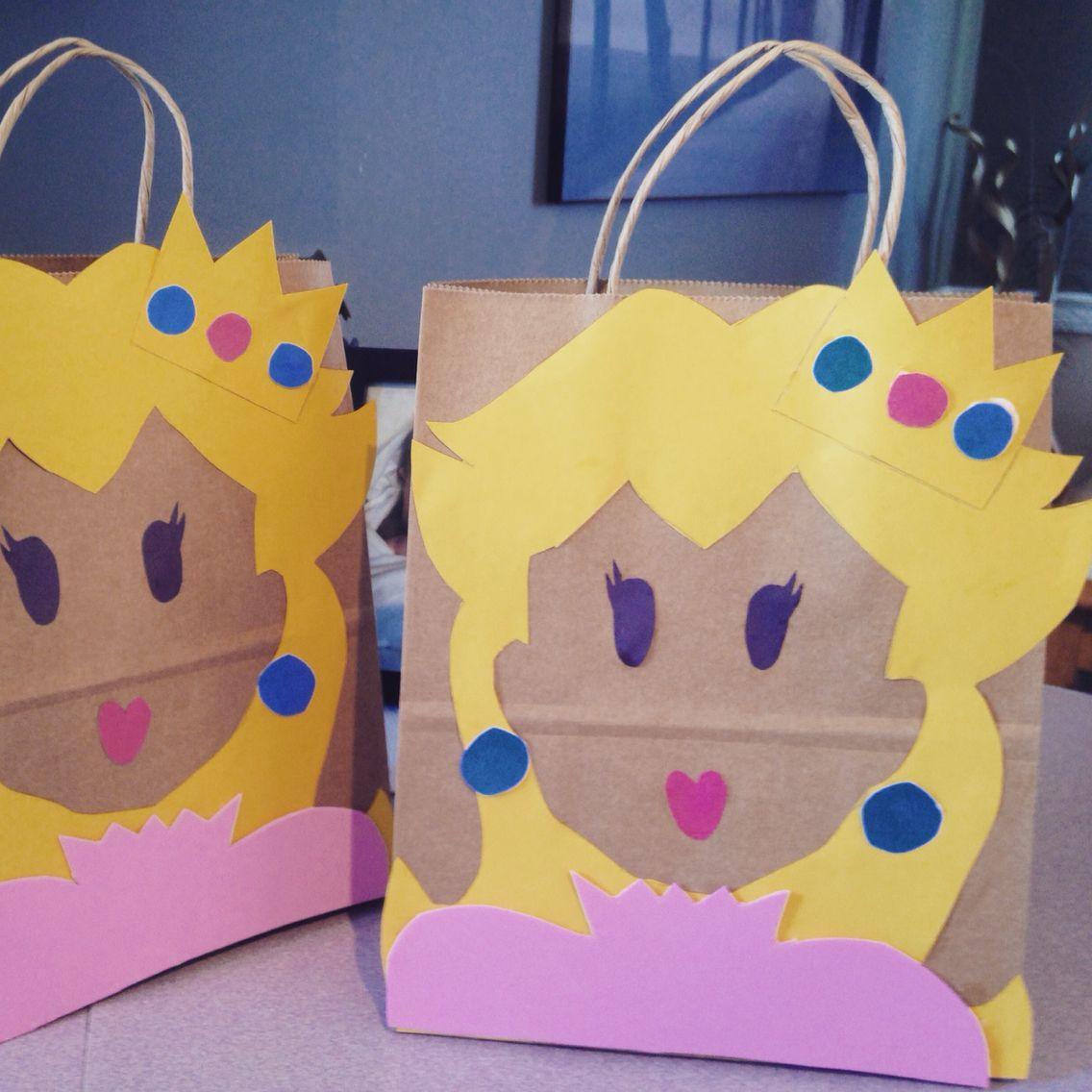 Princess peach loot bags for Mario themed birthday parties