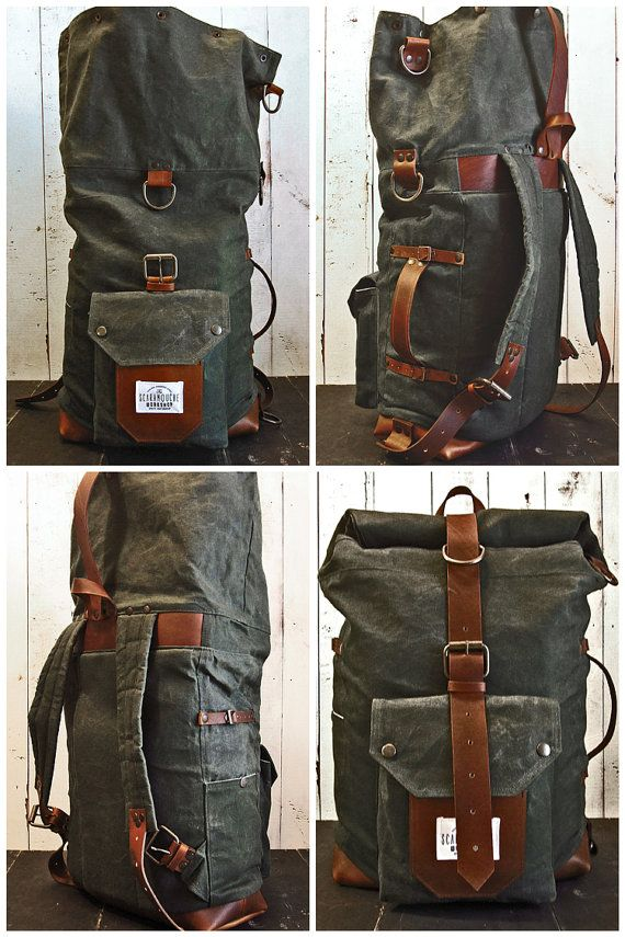The Nomad II Backpack. Hand waxed canvas leather roll top