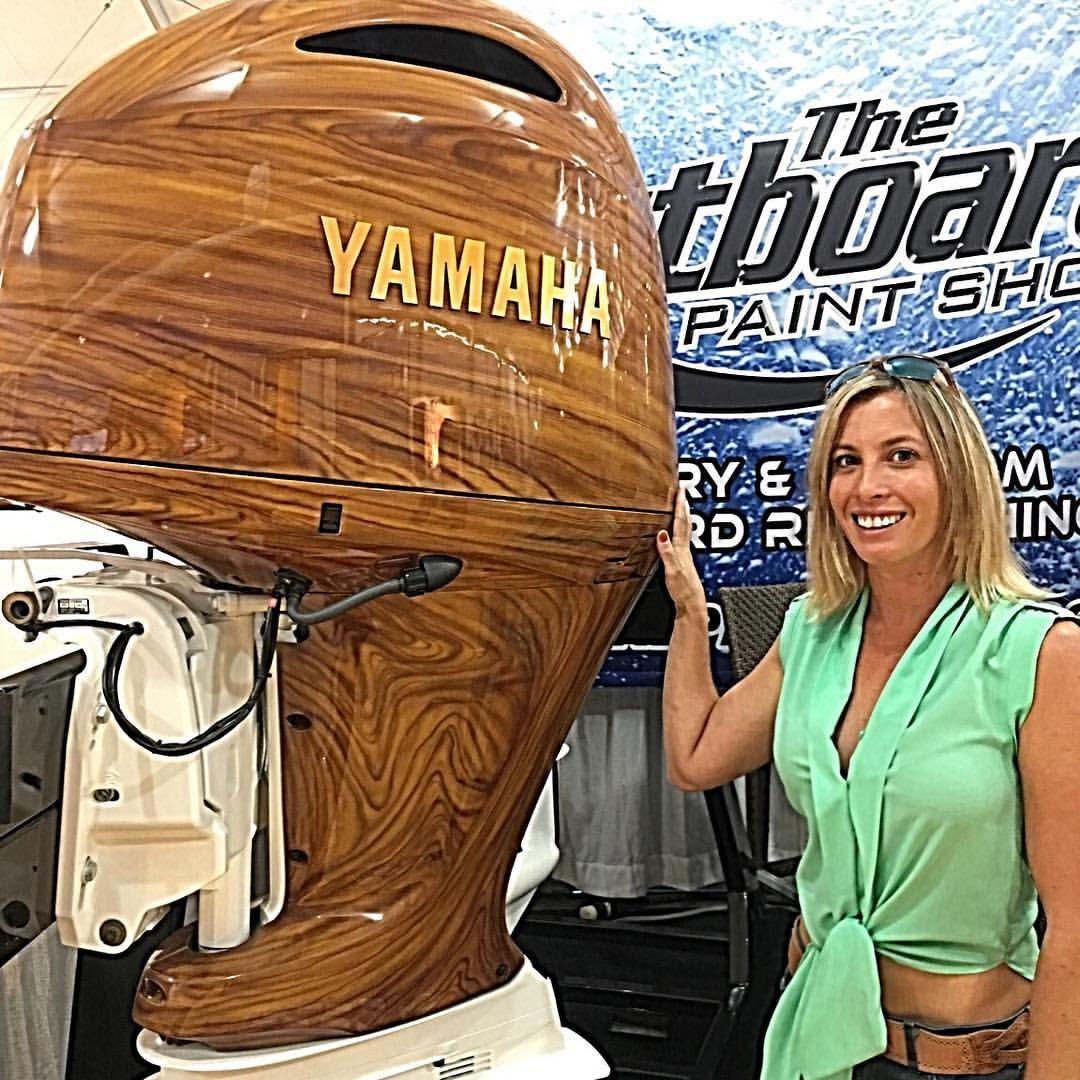 yamaha outboard paint. custom paint wood-look yamaha outboard