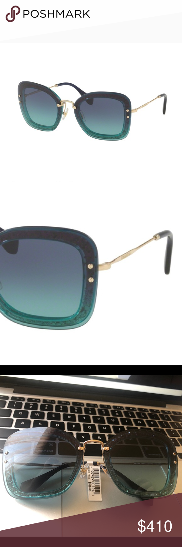 6907b1eb103f Authentic Miu Miu Emerald Green Glitter Sunglasses 100% Authentic Brand new  As pictures no case Frame Color  JZG5R2 Transp Emerald Green   Glitter Lens  ...