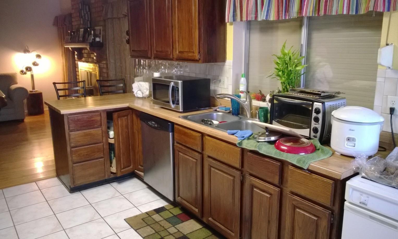 Küche Backsplash Mit Eiche Schränke Kuchen, Schrank