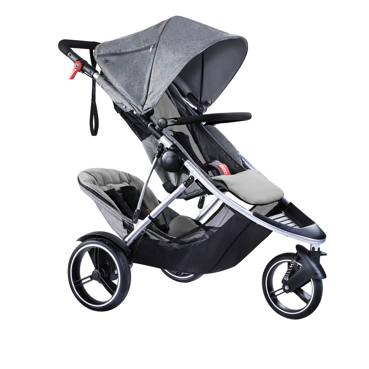 NEW phil&teds dash double stroller in grey marl Stroller