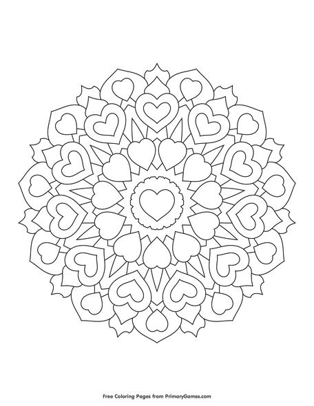 Heart Mandala Coloring Page • FREE Printable eBook | Heart ...