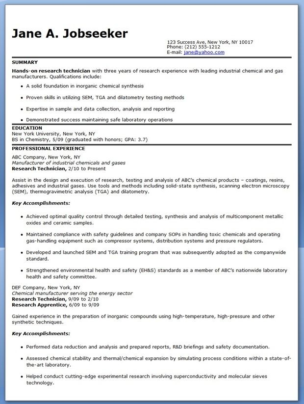 Research Technician Resume Examples (Experienced) Creative Resume