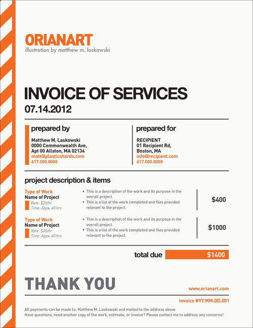 Very Nice Invoice Design   By Orianart   Beautiful Invoices For Beautiful Invoices