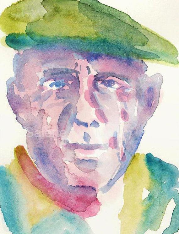 Picasso Original Aquarell Portraitstudie auf von GalerieMiniMal