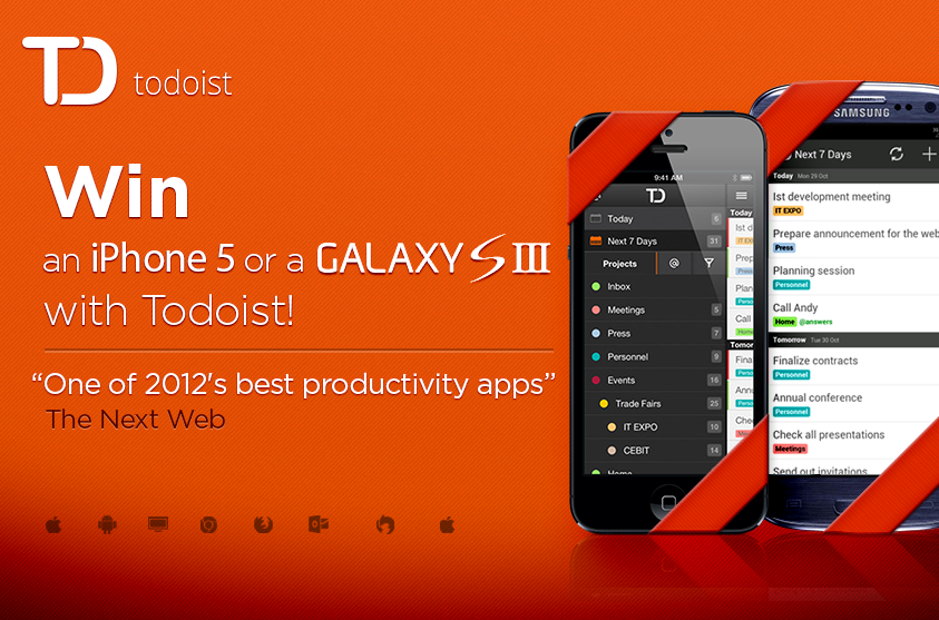 Win an iPhone 5 or Galaxy S3 with Todoist (With images