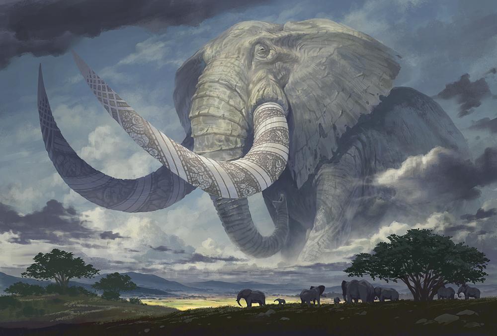 オリジナル 象の王 塗壁のイラスト pixiv イラスト 架空の生き物 象