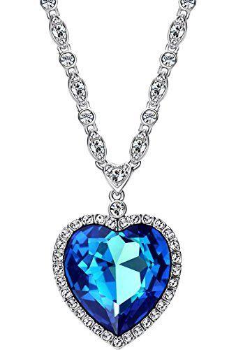 460fcd9faacd Neoglory Swarovski Elements Mujer Collar Colgante Titanic Corazón del Mar  Amor Love Heart Chapado en Oro Blanco Genuino Cristal Austriaco Azul Joya  Original ...