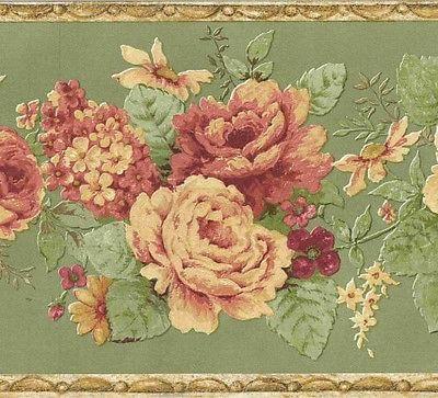 Brewster Vintage Floral Clusters Wallpaper Border Fdb03080 Floral Wallpaper Border Wallpaper Border Flower Wallpaper
