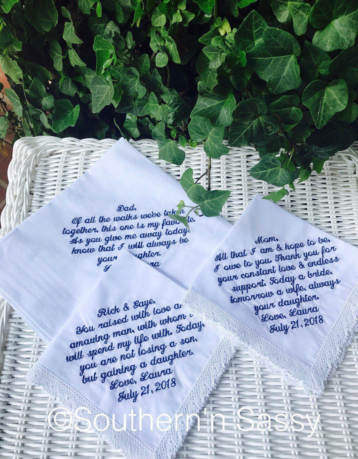 Custom Embroidery Wedding Handkerchief, Bride's Words On Hankies