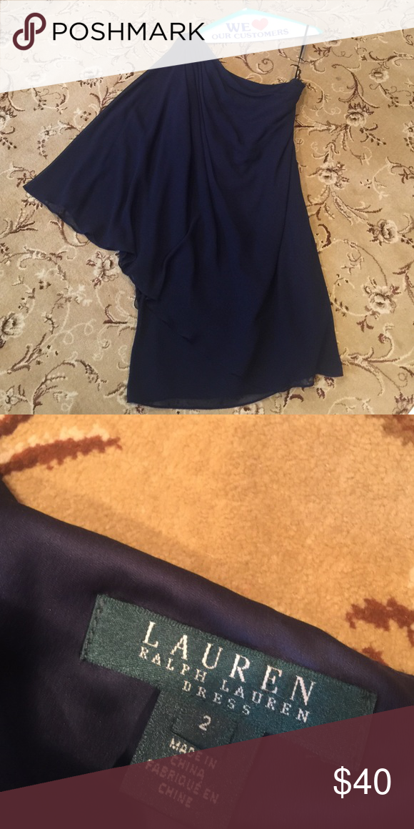 Amazing Ralph Lauren navy 1 shoulder dress Worn once for a wedding it's amazing.  Deep navy blue with a sheer overlay.  One shoulder elongated sleeve. Just picked up from dry cleaner Lauren Ralph Lauren Dresses One Shoulder