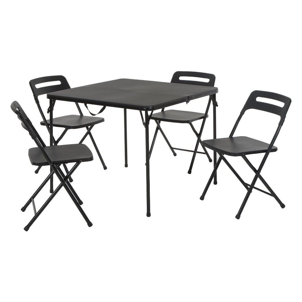 5pc Folding Table And Chair Set Black Cosco Outdoor Folding