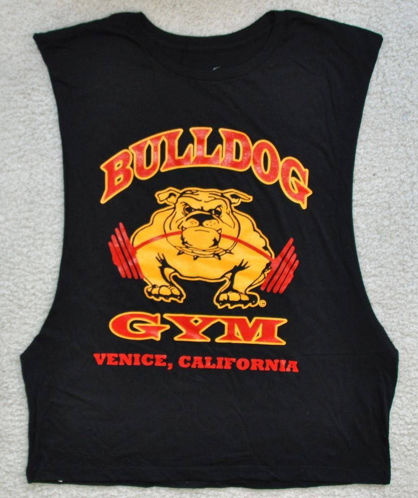 Bulldog Gym Sleeveless Open Side Workout Bodybuilding Venice Beach Black Shirt