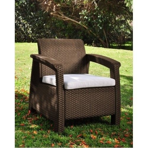 Outdoor Patio Furniture Armchair Garden Wicker Chair W/Cushion All Weather Brown #Keter #Rattan