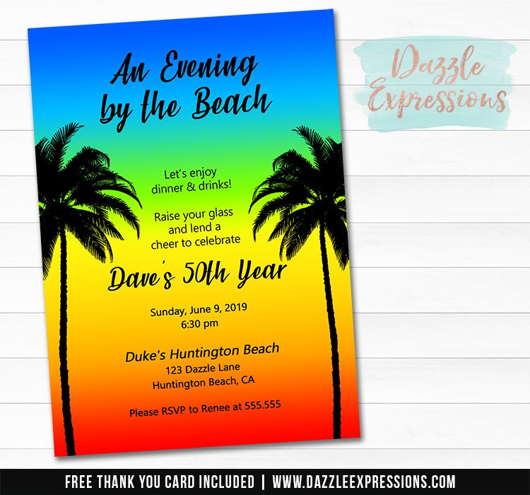 Beach Party Invitation Free Thank You Cards Beach Party Invitations Printable Birthday Invitations