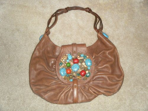 4cc35c8c235 Cole-Haan-G-Series-Brown-Leather-Shoulder-Bag-Purse-Embellished-Beads-Stones  Collect the whole set. ;)