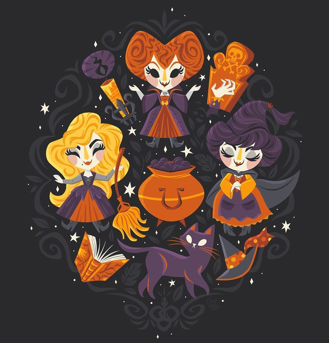Hocus Pocus Inspired Painting Art Print Halloween Art Halloween Wallpaper Halloween Pictures
