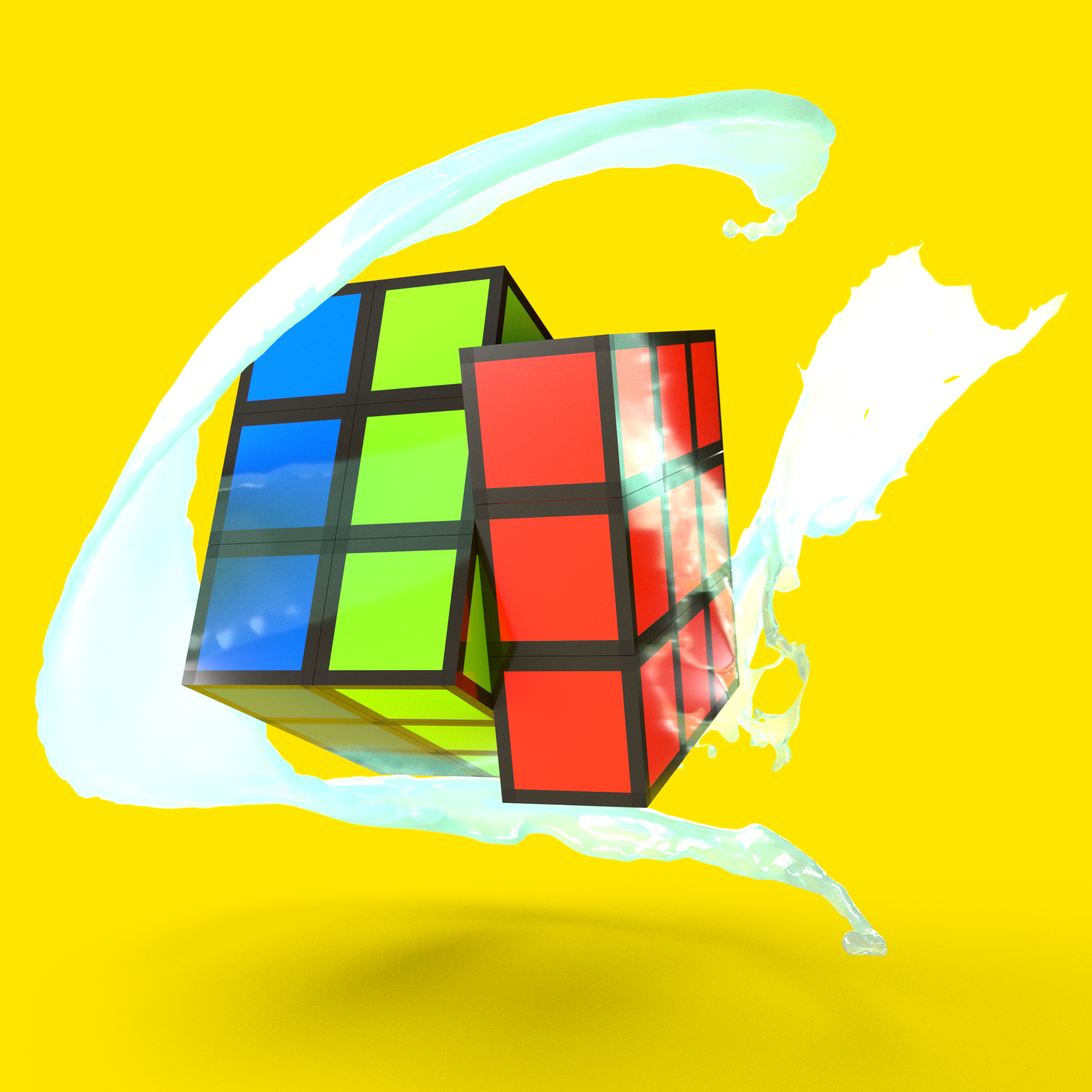 This Is An 3d Artwork Of A Rubic Cube Done With Adobe Dimension