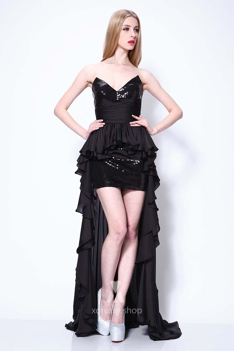Black sequin and ruffled chiffon strapless vneck highlow