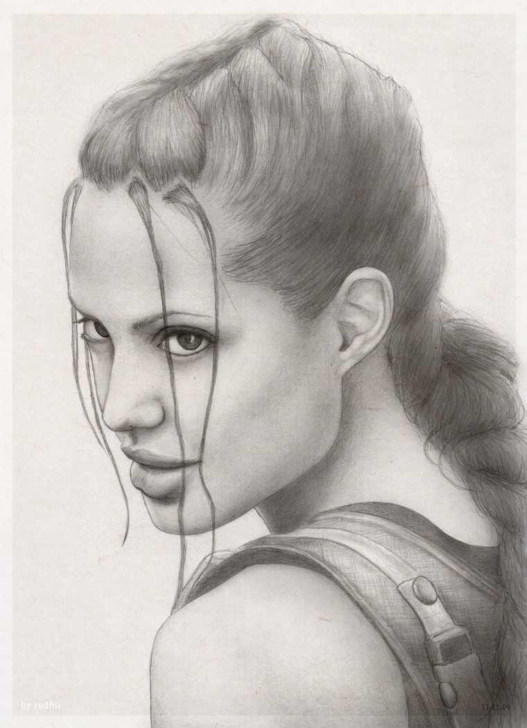 Find This Pin And More On Shades Of Black And White Pencil Drawing Of Angelina's  Jolie