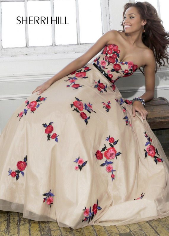 Nude strapless red floral embroidered floor length prom