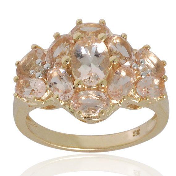 Pink Morganite, White Sapphire Gemstone Ring in 9k Yellow Gold Ring Jewelry