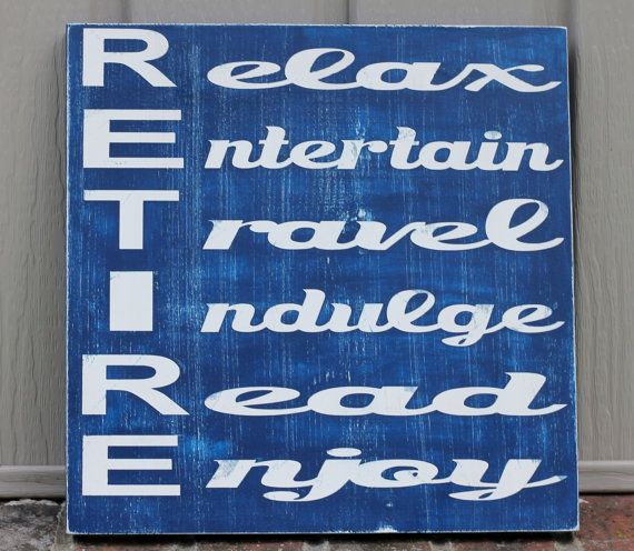 retirement gift wood sign retirement sign blue by SimpleChicLiving, $25.00