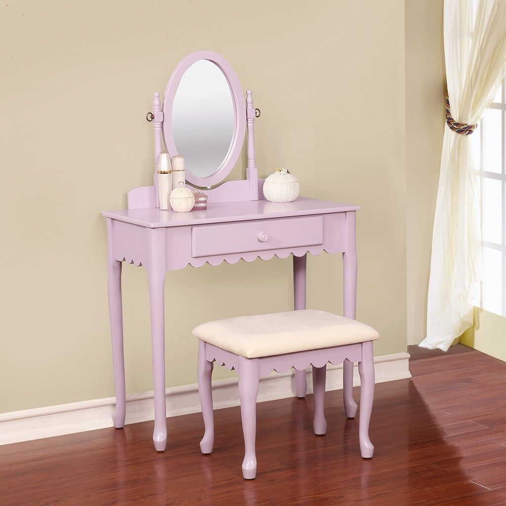 Linon Ellie Scalloped Youth Vanity Table Stool 2 Piece Set Vanity Set Vanity Table Vanity Set With Mirror