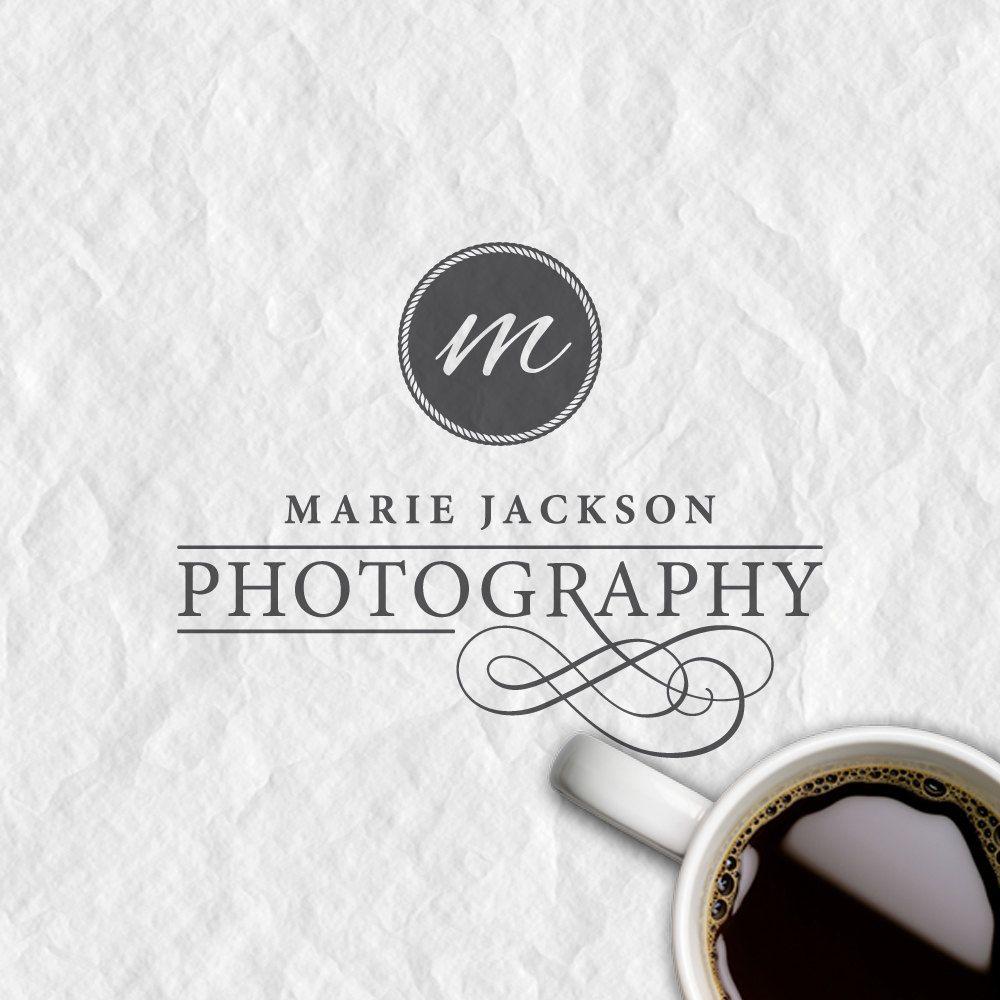 custom premade logo and watermark, elegant font, swirl photography