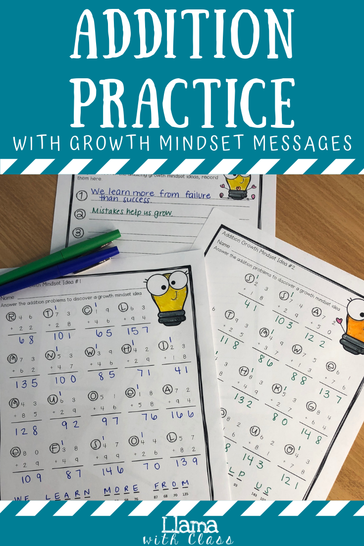 On Each Of These Printable Worksheets Is A Hidden Message That Relates To The Growth Minds Upper Elementary Math Math Pages Addition And Subtraction Worksheets [ 1102 x 735 Pixel ]