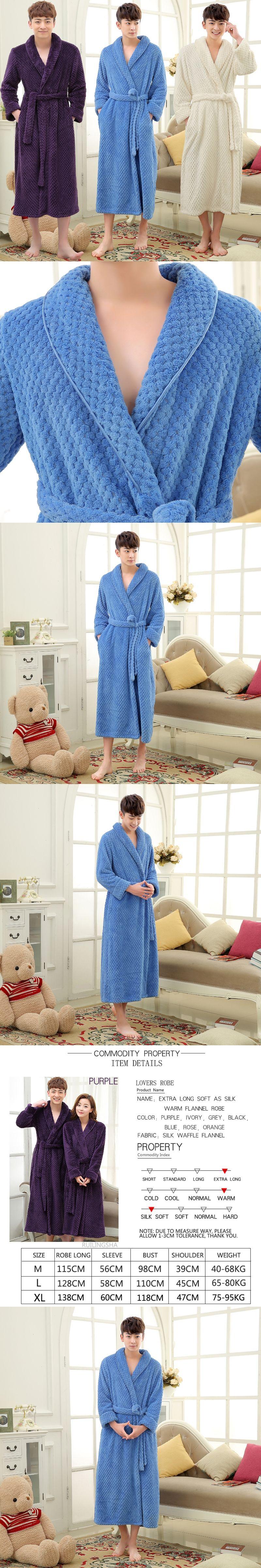 Hot Sale Men Long Winter Thick Warm Bath Robe Men Silk Soft Flannel ...