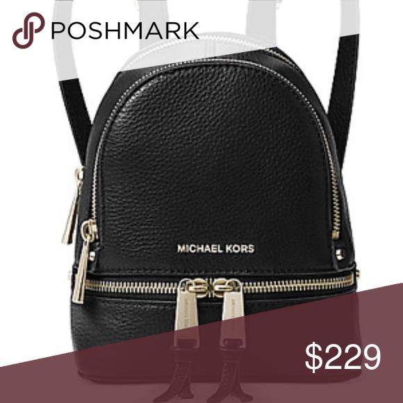 Michael Kors Mini Messenger Backpack Black Gold Boutique 8c648a624f