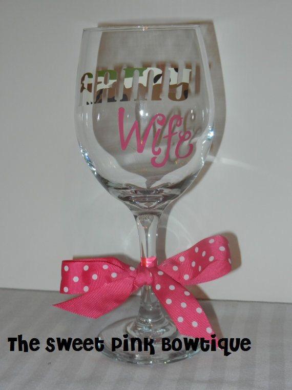 Army Wife WINE GLASS (The Sweet Pink Bowtique) www.operationwearehere.com/deploymentproducts.html