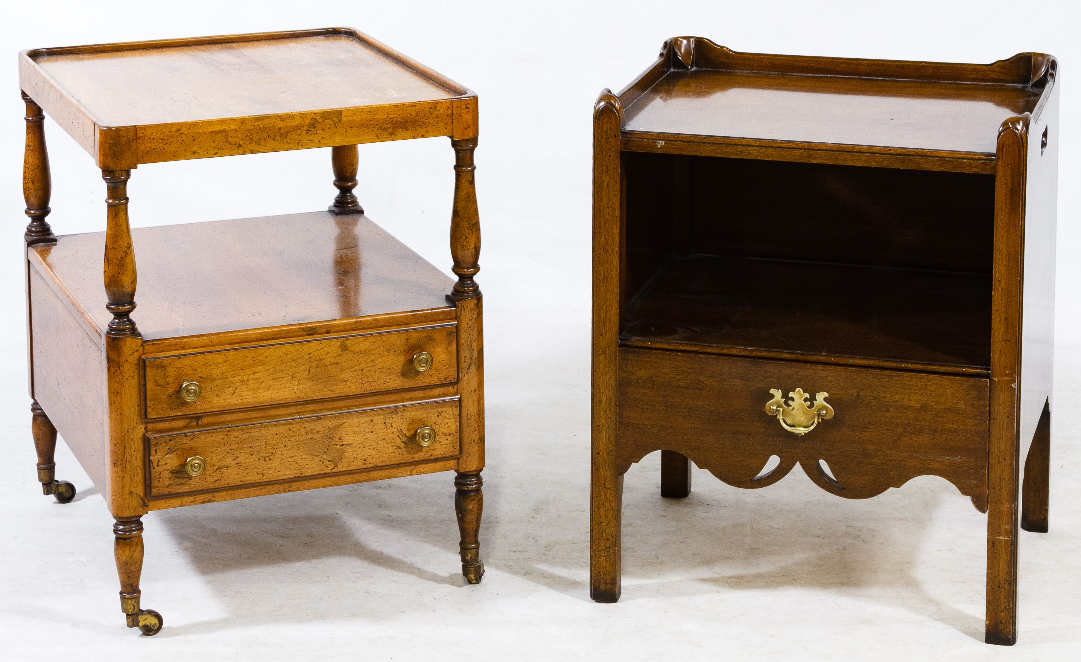 Lot 693 English Walnut Night Stand By Caledonian Having A Single Drawer Together With An Unmarked Fruitwood Rolling T Nightstand Rolling Table English Walnut