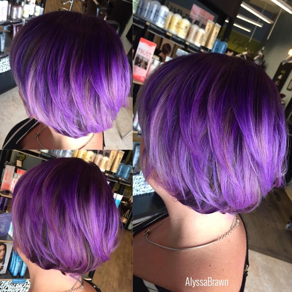 Purple Hair Pravana Unicorn Hair Short Hair Bob Dark Purple Light Purple Fun Bright Vibrant Crazy Color Short Hair Styles Short Bob Hairstyles Hair