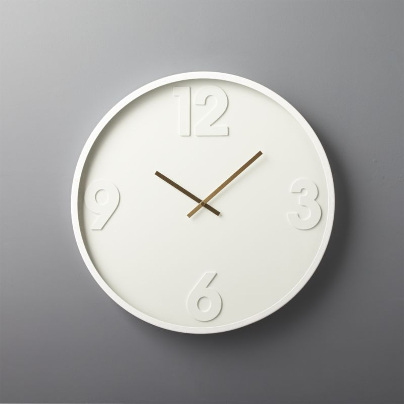 CB2 White Wall Clock 12,3,6,9
