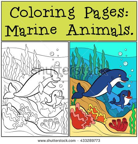 Coloring Pages Marine Animals Mother dolphin swims with her little - new hidden alphabet coloring pages