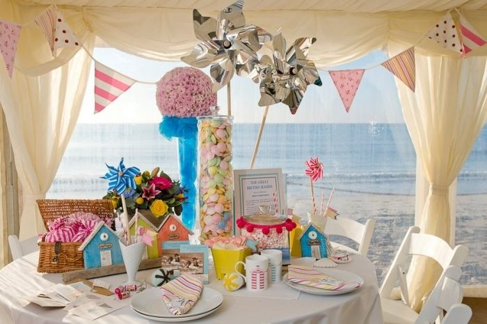 Lovely seaside pinterest beach weddings wedding venues and pinwheels and pompoms make this beach wedding sweetie table look stunning junglespirit Gallery