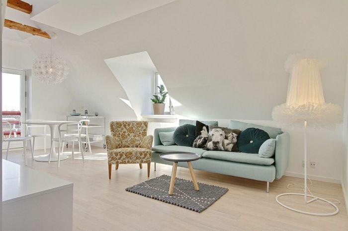 wandfarbe weiß kleine wohnung dachgeschoss dachschräge wohnzimmer - wohnzimmer design weiss