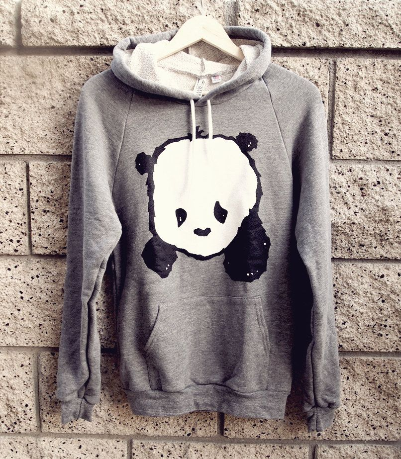 Baby Panda Hoodie Sweater Zinc Heather Grey Unisex