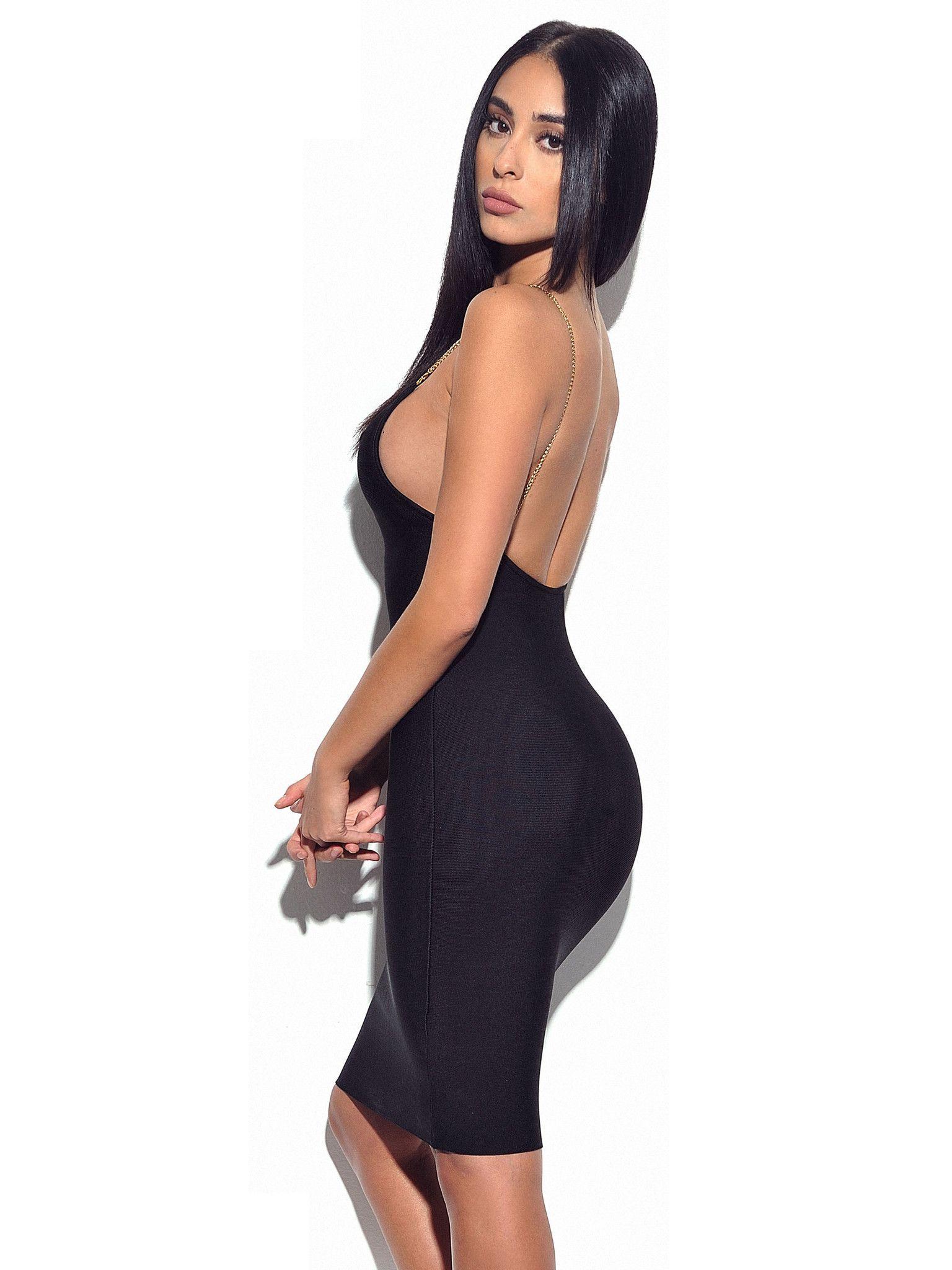 4e63a4639f01 Yolanda Backless Gold Chain Strap Black Bandage Dress – Miss Circle ...
